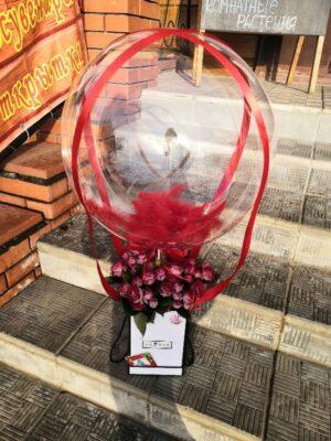 Цветы в коробке с шаром Bubble