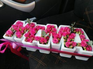 """Цветы в каркасе """"МАМА"""""""