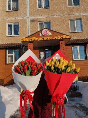 Монобукет из 35 тюльпанов